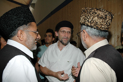 [L-R] Mubaligh Incharge Sahib National Amir Sahib and General Secretary Sahib