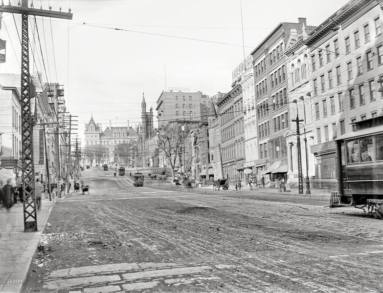Albany NY State Street towards Capitol circa 1900
