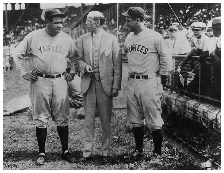 Albany NY Hawkins Stadium Babe Ruth and Mayor John Boyd Thatcher circa 1922