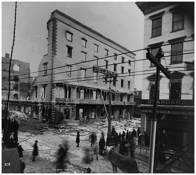 Albany NY Burned Delevan Hotel where Union Station now stands circa 1894