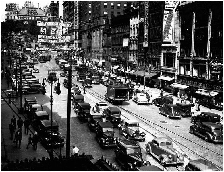 Albany NY State Street west circa 1936