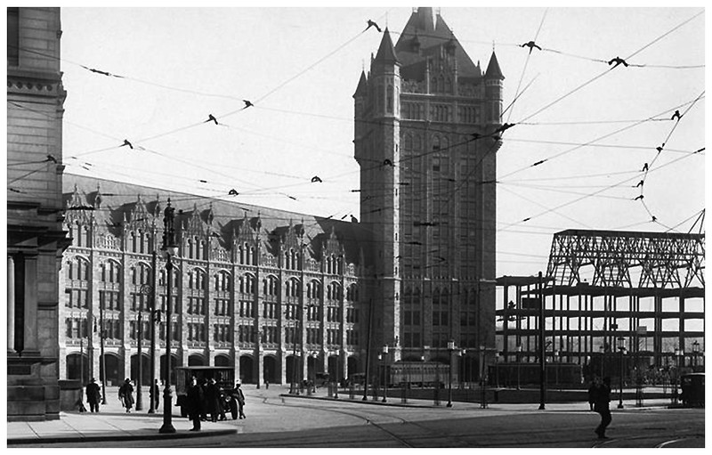 Albany NY Broadway below State, Constructiion of DH Bldg, now SUNY circa 1920 2