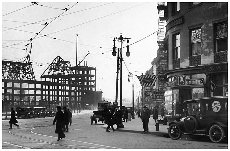 Albany NY Broadway below State, Constructiion of DH Bldg, now SUNY circa 1920 1