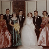 John Amyot and Regina Cox Amyot wedding  November 1954 Groom 2nd left Paul Amyot, Bridesmaid front left Marietta Amyot Bessette