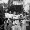 Mary Berthe Amyot Mossey with Daughter Chris, Lucille Amyot Hinchcliffe with Daughter Dale and Marietta Amyot Bessette with Son Bob circa 1950