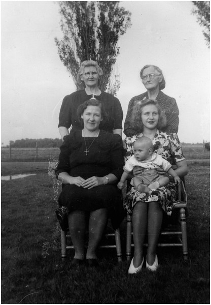 Front Right Francoise Menard Beaulieu Holding Louise Beaulieu 1949