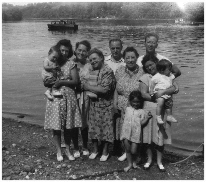 Canada circa 1945 Mary Berthe Amyot Mossey with Jim, Sister to Alice, Alice Contois Amyot,, Odilas Amyot Twinnette maybe, Marietta bessette with Judy and Sue and unknown