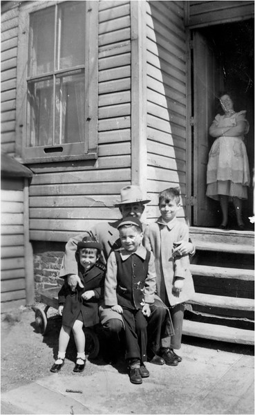 Judy Bessette, Robert Aubin, Pete Bessette with Uncle Pitt, and Marietta Bessette, waterford April 4, 1948
