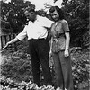 Odilas and Mary Berthe Amyot Backyard Central Av Cohoes circa 1946
