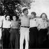 Friends July 1936 Leo Bessette,  Mary Berthe Amyot, Marietta Amyot, Albert Bib Thouin, Mimi Forman, unknown, Al Beauregard