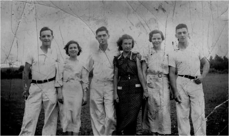 Friends July 1936 Leo Bessette, Marietta Amyot, Al Beauregard, Mary Berthe Amyot, Mimi Forman, Albert Bib Thouin