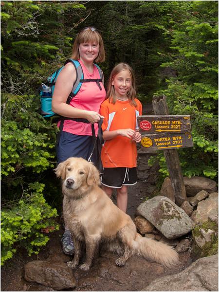 Adirondacks Cascade Mountain Trail Kim, Brody and Jenna at Porter Turnoff July 2009