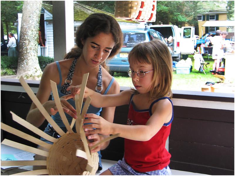 Jenna Bessette and Elena Murray Cape May NJ Basketweaving July 11 2004