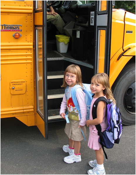 Jenna Bessette and Jenna Lemke September 13 2004   Bus First Day of Kindergarten