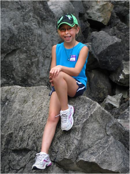 Niagara Falls August 2007 Jenna with Rock Wall