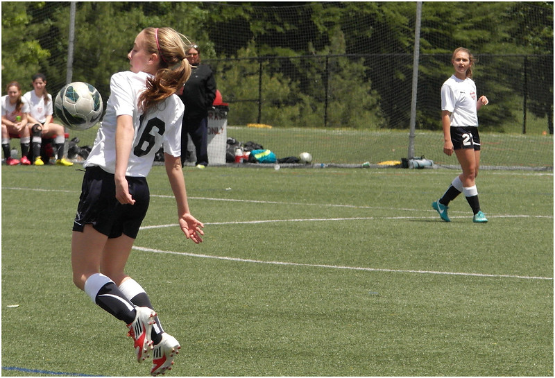 Jenna Chests the Ball FC Delco May 25 2013