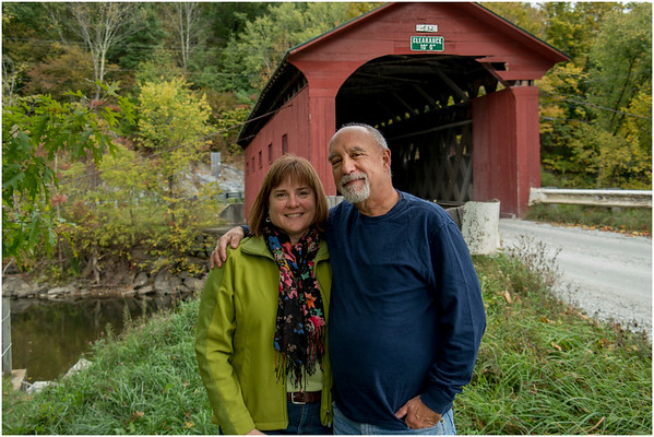 Arlington VT Kim and Tom at Covered Bridge 1 October 2016