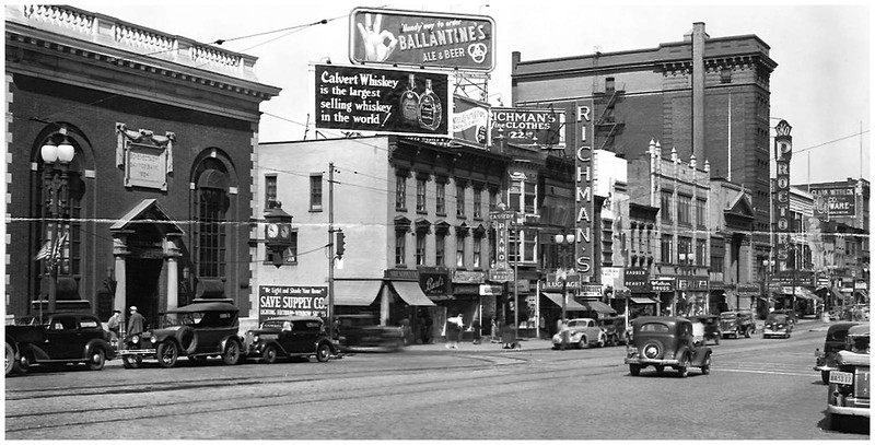 Schenectady NY State Steet Towards Clinton St  1939