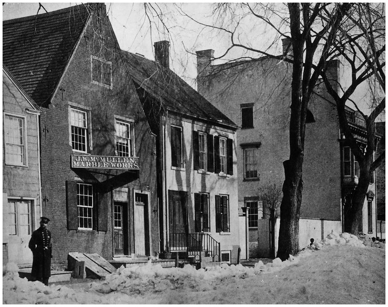 Schenectady NY 13 State Street from the late 1800s showing J W  McMullen Marble Works, formerly the Bradt Tavern