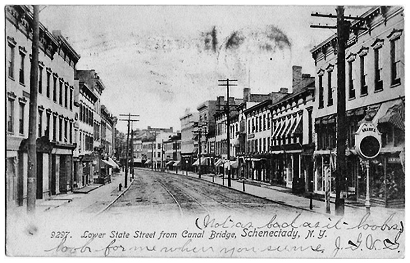 Schenectady NY Lower State Street from Canal Bridge (Erie BLVD)