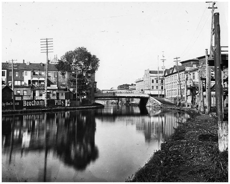 Schenectady NY Erie Canal looking north toward the State State Bridge circa 1910