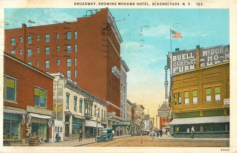Schenectady NY Mohawk Hotel, Broadway and Smith St  circa 1930