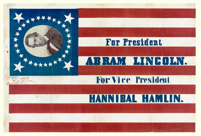 ABRAHAM LINCOLN CAMPAIGN BANNER CA 1860