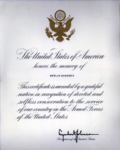 Berlin Gardner memorial certificate signed by Lyndon B. Johnson