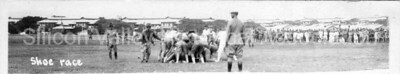 Soldiers in a shoe race at Camp Fremont in Palo Alto, California during WWI