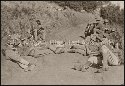Santa Clara Valley soldiers resting on the trail in 1918