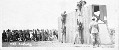 Soldiers scaling wall at Camp Fremont in Palo Alto, California c. 1917