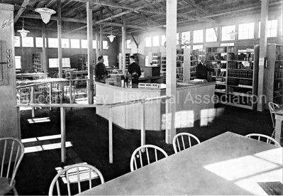 Interior of library at Camp Fremont in Palo Alto, California in 1919