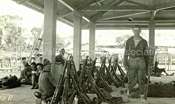 WWI Soldiers in the Philippines at the San Jose Market Place, c. 1916