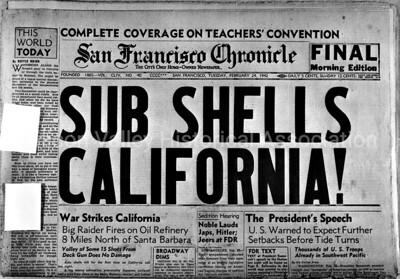 Sub Shells California! 1942 Headlines from the San Francisco Chronicle