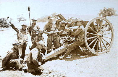 Artillery practice at Camp Fremont in Palo Alto, California in December, 1918
