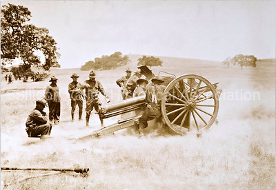 Camp Fremont artillery drill - firing the cannon - Palo Alto, California in 1918