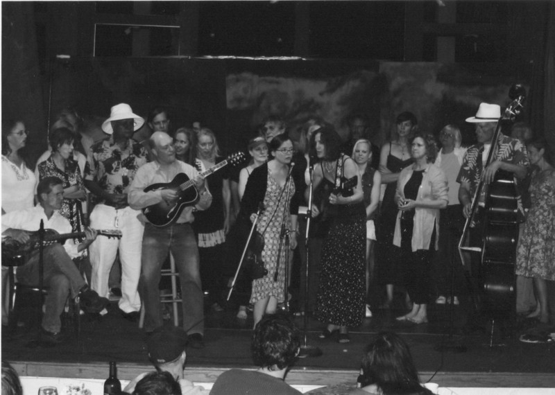 The Follies. Closing number. The band: Louis B. Jones, Greg Spatz, Caridwen Spatz, Sands Hall, James D. Houston. 2007.