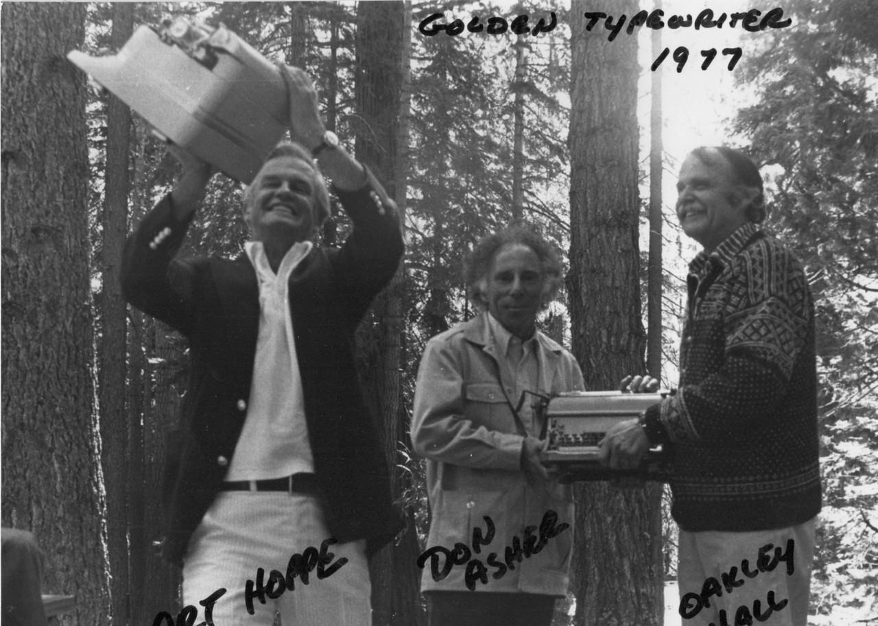 Golden typewriter tournament. Art Hoppe, Don Asher, Oakley Hall. 1977.