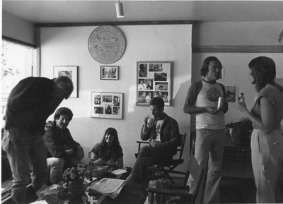 Community of Writers office scene.  Theater building. 1970s.