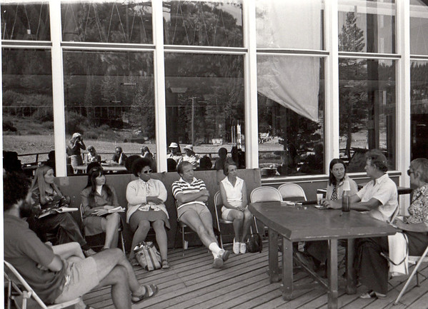 Fiction panel with Phyllis Seidel, Max Steele, Alice Adams. 1974.  Barbara Hall, photographer, seen in window reflection.