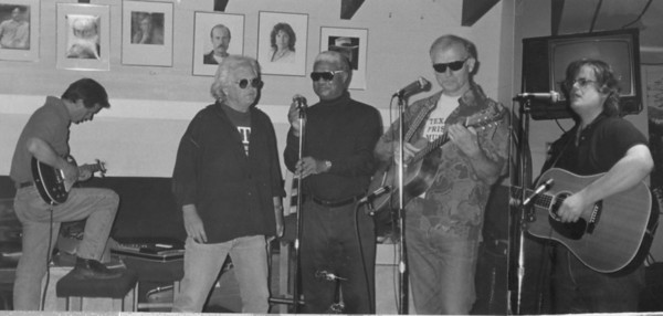 """The Granite Chief Quintet singing """"The White Man's Blues"""" at the Follies. Louis B. Jones, Tom Rickman, Al Young, James D. Houston with special guest Peter Case. 1991."""