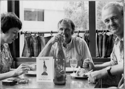 1970: First Community of Writers. Marilyn Hill (U.C. Extension), Oakley Hall, Blair Fuller. [photo credit: Tom Lippert]