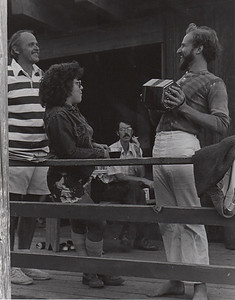 Oakley Hall (left), Steven Hannum (sp?), Mannum (sp?). The Playwright as Accordian Player. 1974. [photo credit: Tracy Hall]