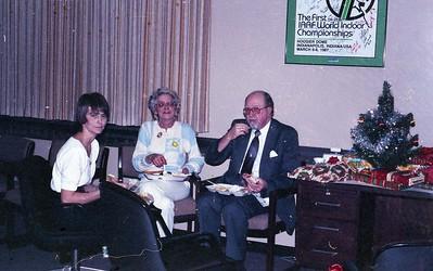 Christmas Party Shirley Purvitis, Jean Rieland, Chaplain WIlbert Cunningham