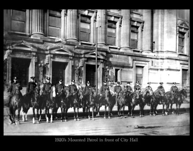 1920's Mounted Patrol in front of City building copy