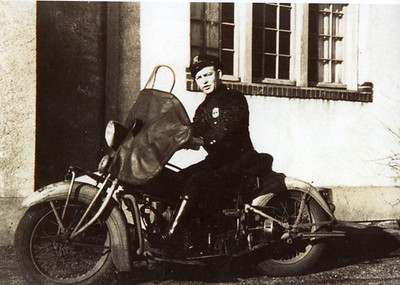 1930's motorcycle officer on cycle