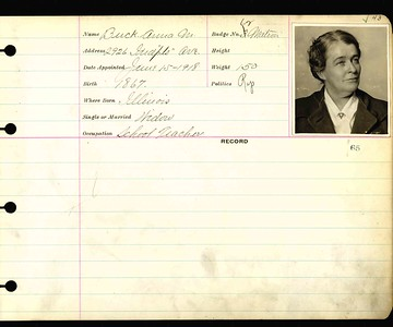 Anna Buck personnel card