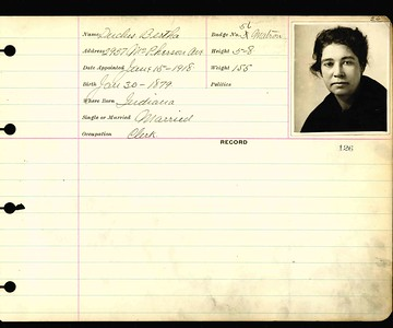 Bertha Duclus personnel card