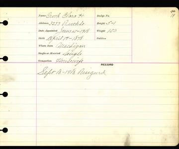 Clara Crook personnel card