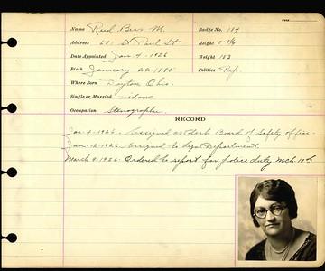 Bess M Reid personnel card